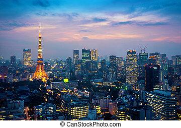 aéreo, tokio, noche, cityscape, japan., vista