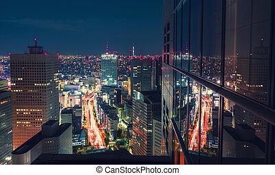 aéreo, tokio, rascacielos, noche, cityscape, japón, vista