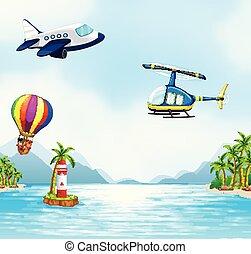 aéreo, transporte, encima, el, océano