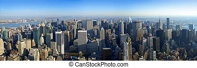 aéreo, vista panorámica, encima, manhattan, nueva york