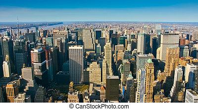 aéreo, vista panoramic, sobre, superior, manhattan