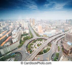 aéreo, vistas, de, cidade, com, tilt-shift, efeito