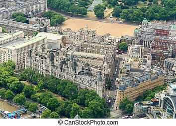 aéreo, whitehall, sede, londres, uk., gobernar, jardines, ...