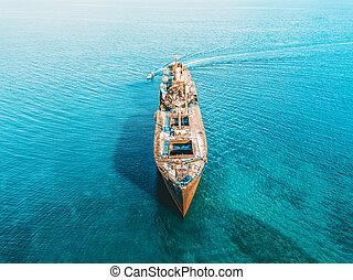aéreo, zángano, vista, de, viejo, naufragio, fantasma, barco