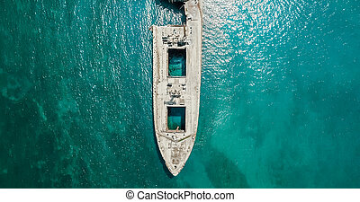 aéreo, zángano, vista, de, viejo, naufragio, fantasma, barco, vasija