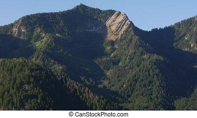 aéreo, zoom, tiro, de, floresta verde, e, montanhas