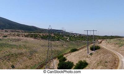 aérien, électricité, transmission, pylône, vallée, paysage, ...