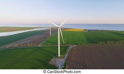 aérien, -, énergie, turbines, production, vent, propre, ...