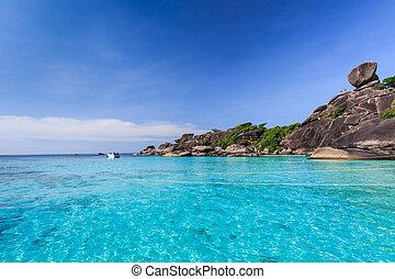 aérien, île, exotique, similan, thaïlande, vue