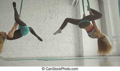 aérien, aerialist, ruses, soies, deux, girls-, joli, acrobatique