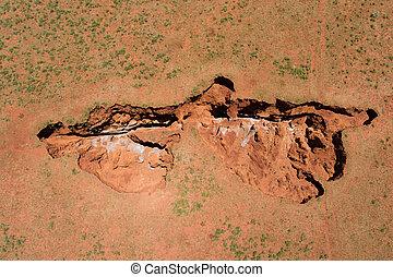 aérien, afrique, -, sinkhole, sud, vue