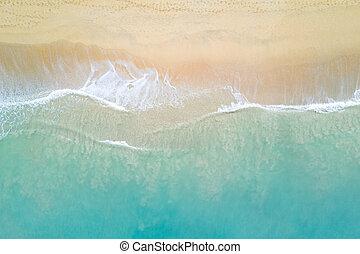 aérien, atteindre, océan, littoral, vague, vue