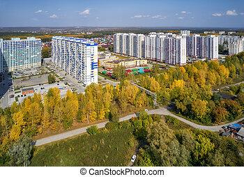 aérien, automne, moderne, sibérie, ville, russia., vue, résidentiel, novosibirsk, bird's-eye, bâtiments.