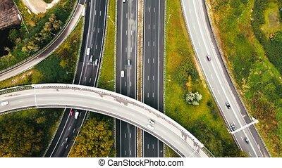 aérien, autoroute, vue, voitures, sur, infrastructure, il, conduite, aller