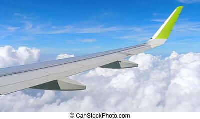 aérien, avion, descendre, vue