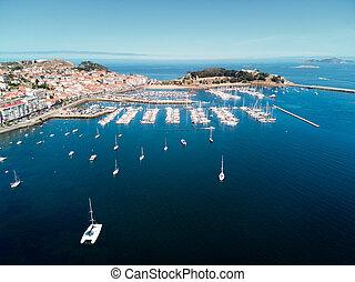 aérien, baiona, fort, port, vue, bateaux