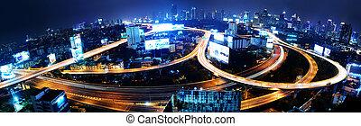 aérien, bangkok, vue, thaïlande, autoroute, autoroute