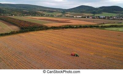 aérien, beau, coucher soleil, tracteurs, potirons, bourdon, coup, champ, orange, clair