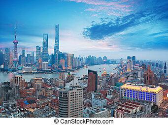 aérien,  Bund, crépuscule, Photographie,  Shanghai, Horizon
