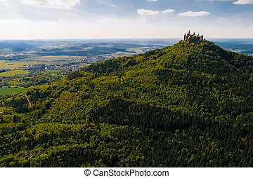 aérien, célèbre, château, vue, hohenzollern