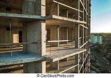 aérien, cadre, bâtiment béton, vue, construction, city., sous, grand, appartement