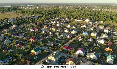 aérien, ceci, ville, rural, rues, maisons, vue, russie