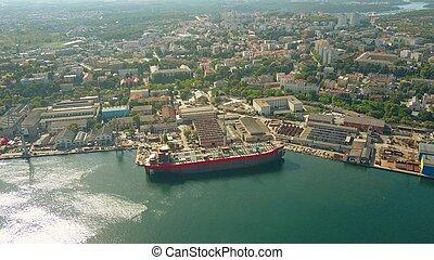 aérien, chantier naval, construction, sous, bateau, vue
