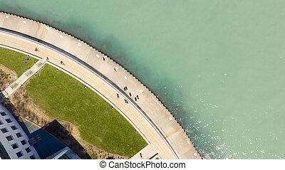 aérien, chicago, michigan, gens, lac, walkway, vue
