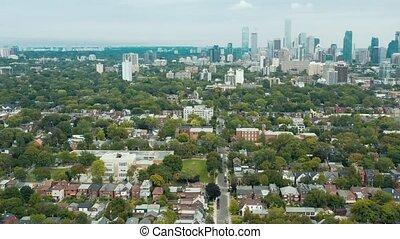 aérien, city., coup, establishing, secteurs, métropolitain, résidentiel, grand