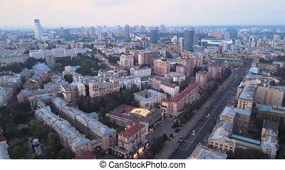 aérien, city., ukraine, vue, kiev, kyiv