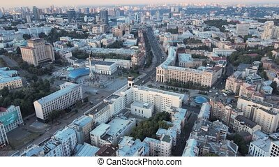 aérien, city., vue, kiev, kyiv, ukraine