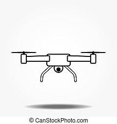 aérien, conception, logo, icône, appareil photo, bourdon, ...
