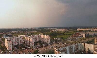 aérien, conception, paysage, district, sommet, -, appareil photo, orage, capital, mouvement, paysage, urbain, angles, venir, arrivant, riga, lisser, lettonie, coucher soleil, professionnel, européen, soviétique, vue