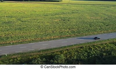 aérien, conduite, champs, voiture, sport, vue