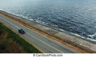 aérien, conduite, voiture, -, mer noire, long, route