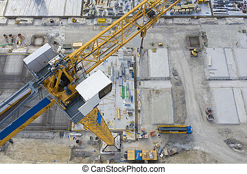 aérien, construction bâtiments, vue, grue, grand sommet, jaune, site