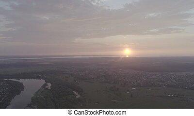 aérien, coucher soleil, village, rivière, plage, vue