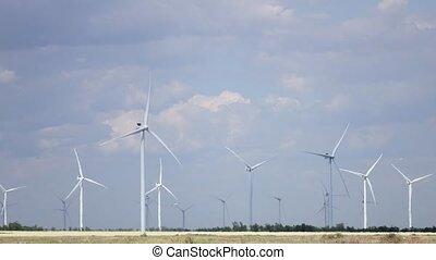 aérien, dériver, défaillance, pinwheels, clouds., brise, fond, temps, blanc, filer, survey.