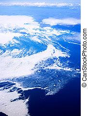 aérien, de, baffin, îles