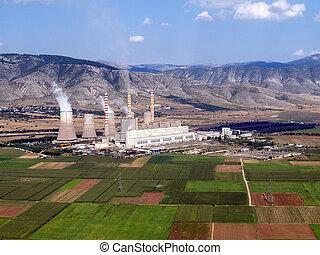 aérien, de, combustible fossile, centrale électrique