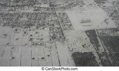 aérien, district, résidentiel, moscou, maisons, voisinage, vue., suburbain