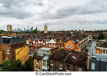 aérien, district, résidentiel, royaume-uni, londres, vue