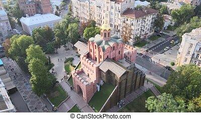 aérien, doré, :, architecture, gate., kyiv, vue, ukraine