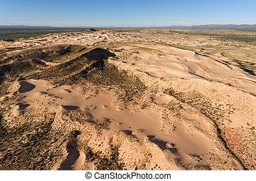 aérien, dunes, afrique, -, sable, sud, vue