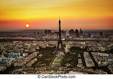 aérien, eiffel, paris, france, tour, vue, sunset.