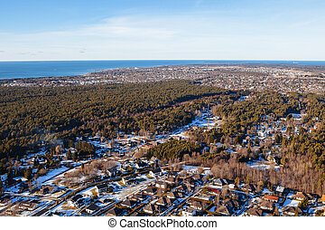 aérien, estonie,  viimsi, privé, Maisons, forêt, vue