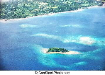 aérien, forme coeur, tavarua, île, vue