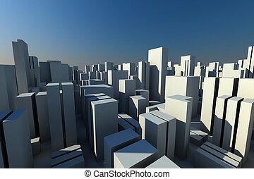 aérien, foule, ville, horizon, vue, 3d