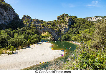 aérien, france, d'arc, vue, vallon, canyon, voûte, ardeche, ...