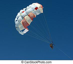 aérien, gens, parasailing, ciel, deux, aventure